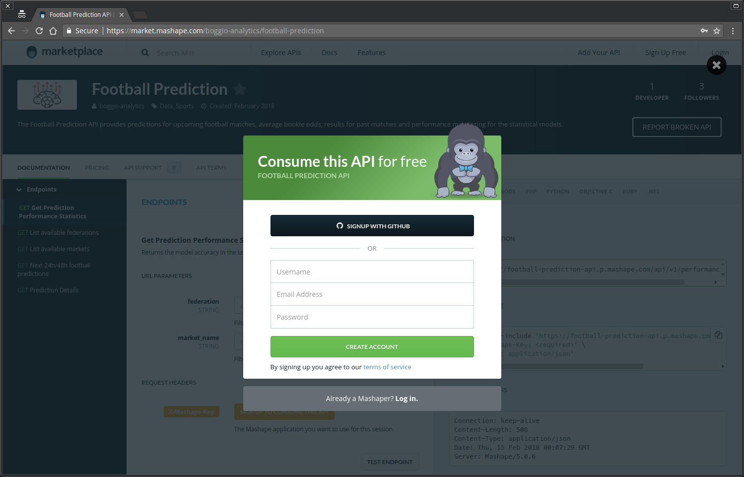 Football prediction API